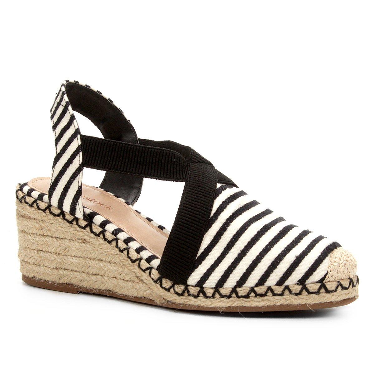 9c3fd4486a Sandália Anabela Shoestock Elástico Corda Feminina - Preto - Compre Agora
