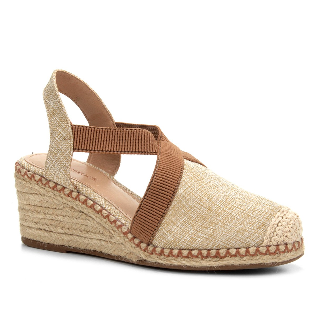 830af8cf9 Sandália Anabela Shoestock Elástico Corda Feminina - Caramelo | Shoestock
