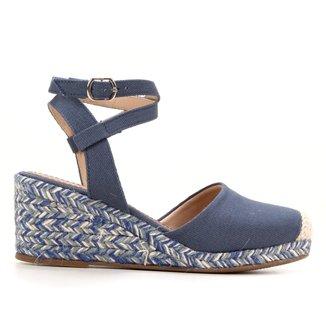 Sandália Anabela Shoestock Espadrille Lona Feminina