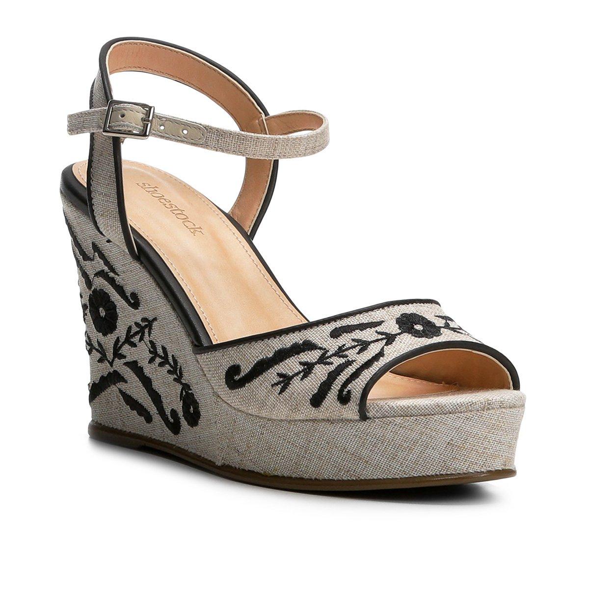 9df5d88a2 Sandália Anabela Shoestock Linho Bordada Feminina - Compre Agora ...