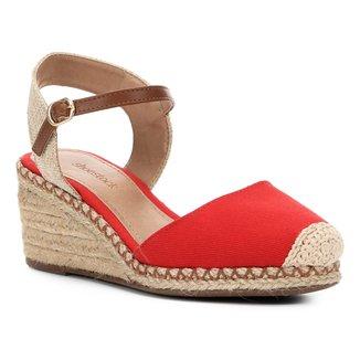 Sandália Anabela Shoestock Lona Feminina