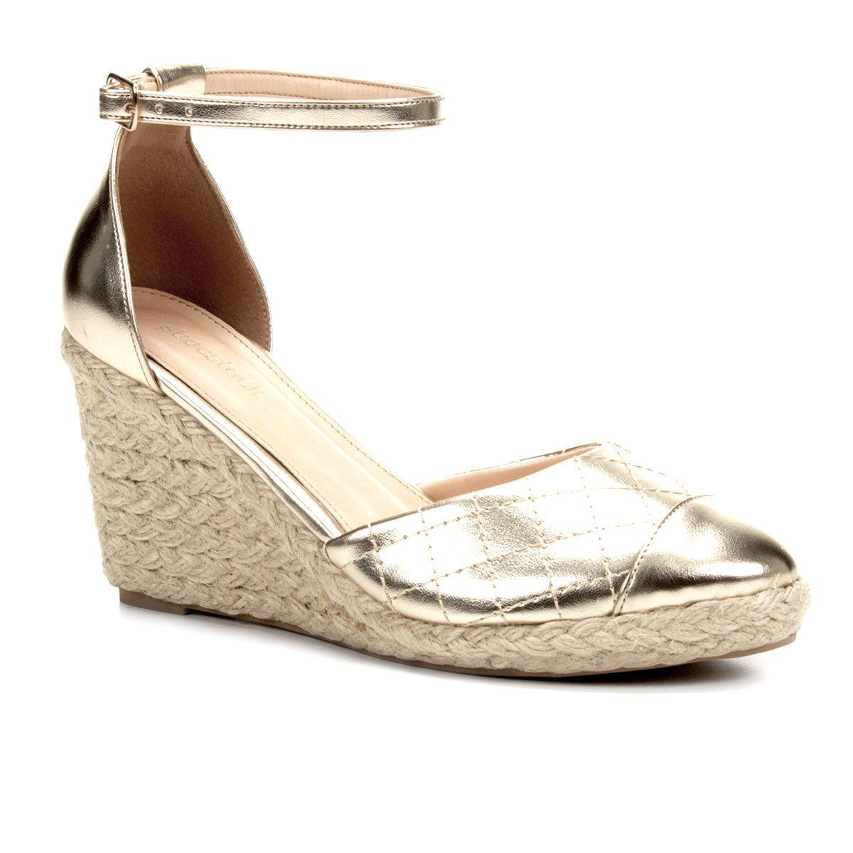 1405e60ee5 Sandália Anabela Shoestock Matelassê Corda Feminina - Dourado   Shoestock