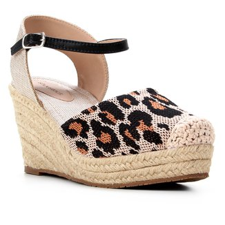 Sandália Anabela Shoestock Salto Alto Corda Feminina