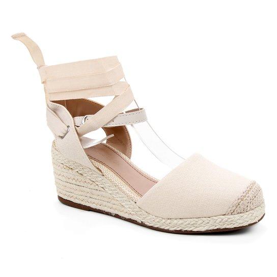 Sandália Anabela Shoestock Salto Médio Corda Feminina - Off White