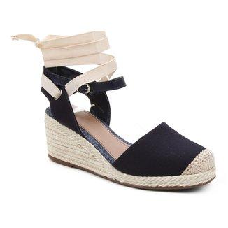 Sandália Anabela Shoestock Salto Médio Corda Feminina