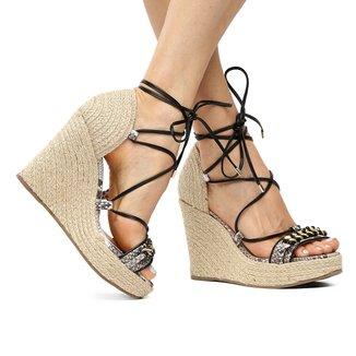 Sandália Couro Plataforma Shoestock Corrente Feminina