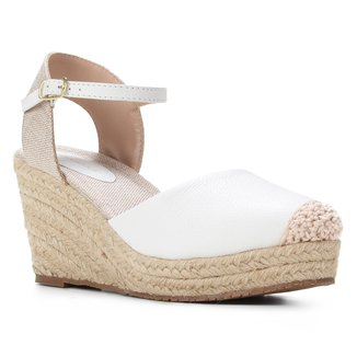 Sandália Couro Shoestock Anabela Corda Feminina