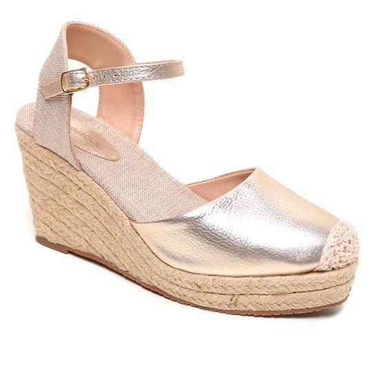 Sandália Couro Shoestock Anabela Corda Feminina - Dourado