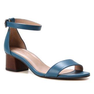 Sandália Couro Shoestock Básica Salto Bloco Baixo Feminina