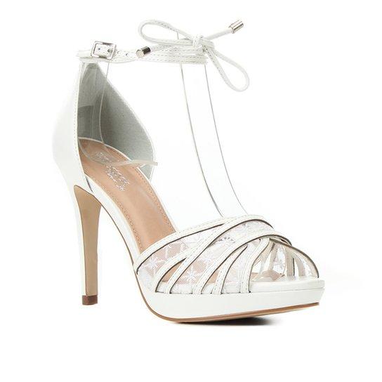 Sandália Couro Shoestock Bride Salto Alto Bordada Feminina - Branco