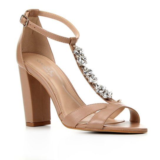 Sandália Couro Shoestock Bride Strass Salto Feminina - Nude