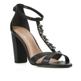Sandália Couro Shoestock Bride Strass Salto Feminina