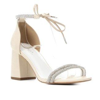 Sandália Couro Shoestock Bride Strass Tiras Feminina