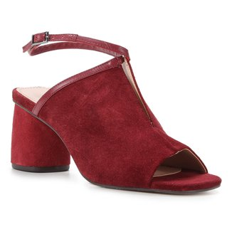Sandália Couro Shoestock Camurça Salto Redondo Feminina
