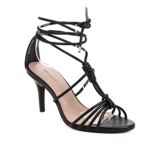 Sandália Couro Shoestock Charm Salto Fino Feminina - Preto