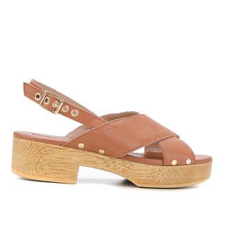 Sandália Couro Shoestock Clog Tiras Cruzadas