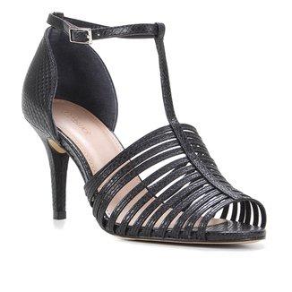 Sandália Couro Shoestock Cobra Tiras Finas Feminina