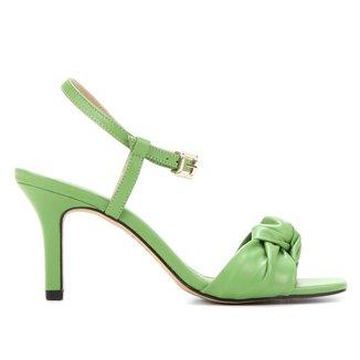 Sandália Couro Shoestock Comfy Salto Médio Feminina