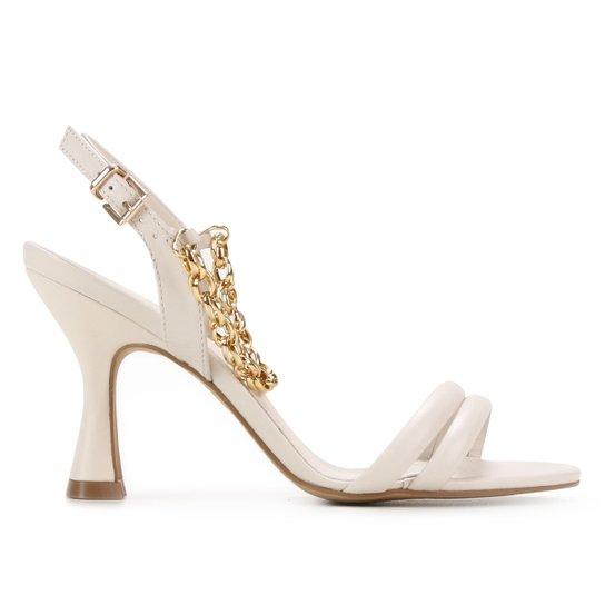 Sandália Couro Shoestock Corrente Salto Fino Feminina - Off White
