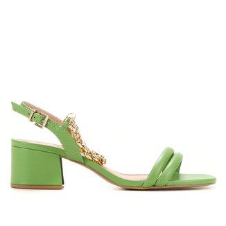 Sandália Couro Shoestock Corrente Salto Médio Bloco Feminina