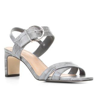 Sandália Couro Shoestock Croco Fivela Feminina