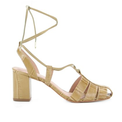 Sandália Couro Shoestock Croco Salto Bloco Feminina
