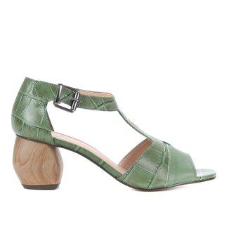 Sandália Couro Shoestock Croco Salto Médio Feminina