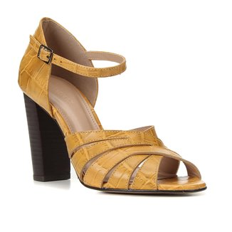 Sandália Couro Shoestock Croco Tiras Cruzadas Feminina