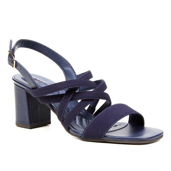 Sandália Couro Shoestock Elástico For You Salto Bloco Médio Feminina - Marinho