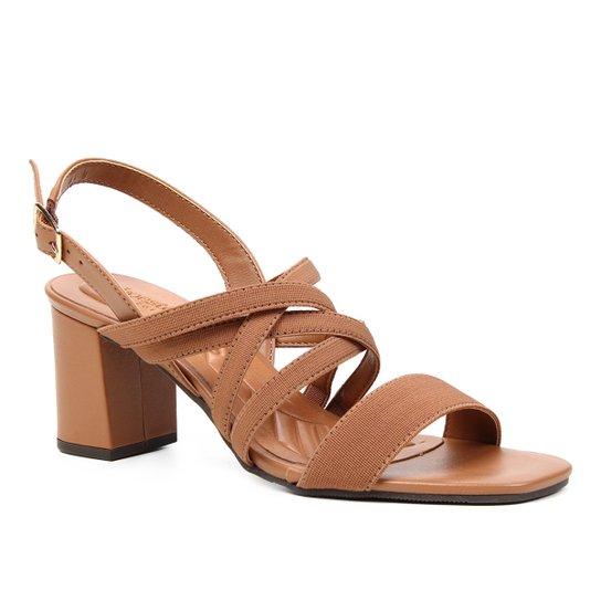 Sandália Couro Shoestock Elástico For You Salto Bloco Médio Feminina - Marrom