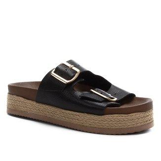 Sandália Couro Shoestock Fivela Feminina