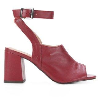 Sandália Couro Shoestock Fivela Salto Bloco Alto Feminina