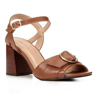 Sandália Couro Shoestock Fivela Salto Bloco Médio Feminina