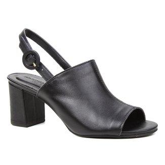 Sandália Couro Shoestock For You Salto Bloco Médio Feminina
