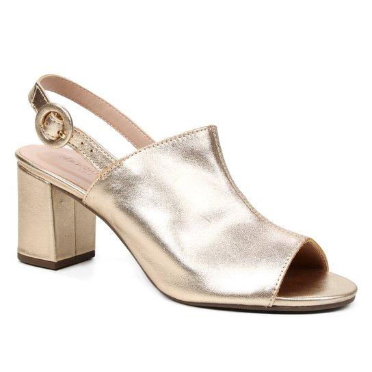 Sandália Couro Shoestock For You Salto Bloco Médio Feminina - Ouro