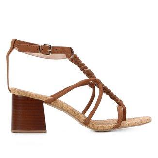 Sandália Couro Shoestock Handmade Salto Bloco Feminina
