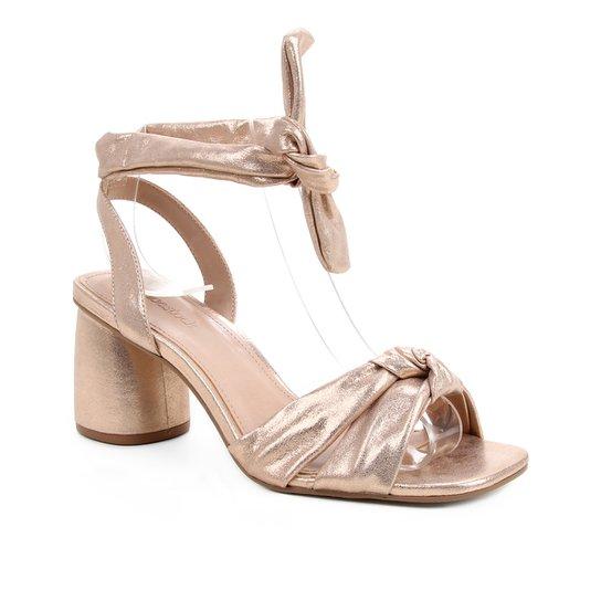 Sandália Couro Shoestock Lace Up Cali Metalizada - Rosa