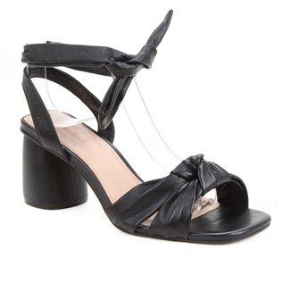 Sandália Couro Shoestock Lace Up Cali Salto Bloco Feminina
