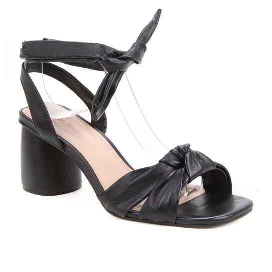 Sandália Couro Shoestock Lace Up Cali Salto Bloco Feminina - Preto