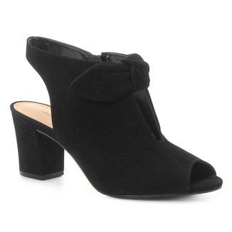 Sandália Couro Shoestock Laço Nobuck Feminina