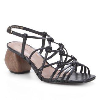 Sandália Couro Shoestock Macramê Salto Médio Geométrico Feminino