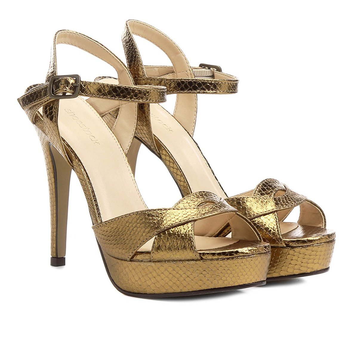 0058caa1b Sandália Couro Shoestock Meia Pata Metalizada Feminina | Shoestock