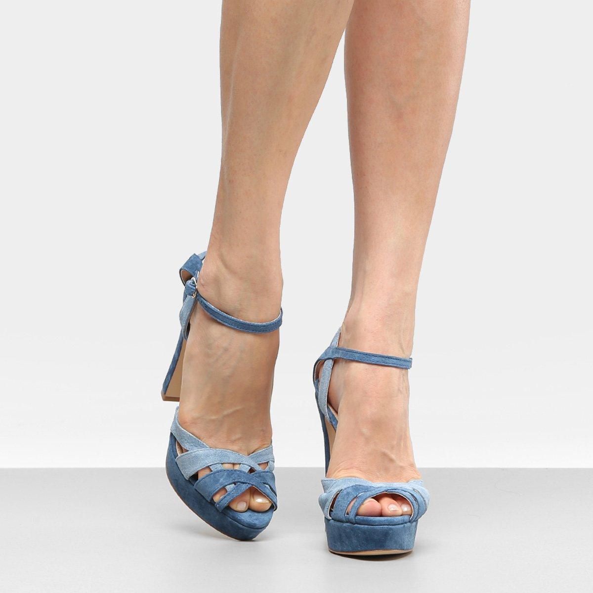 45d14ba1d Sandália Couro Shoestock Meia Pata Mix Cores Feminina - Azul | Shoestock