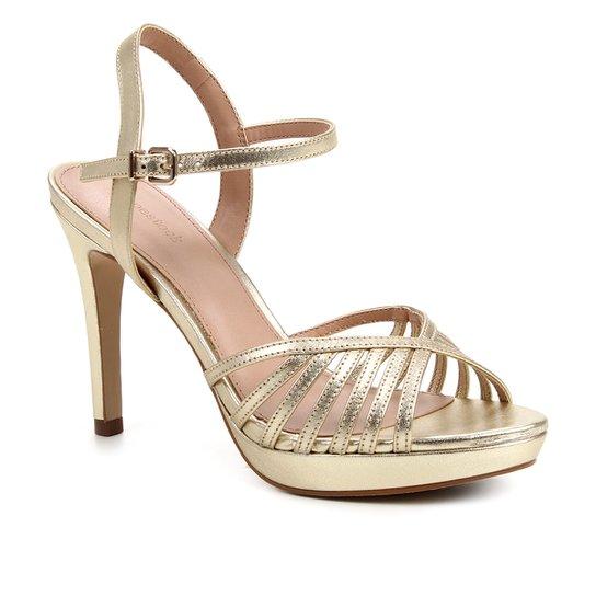 Sandália Couro Shoestock Meia Pata Salto Alto Feminina - Ouro