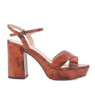 Sandália Couro Shoestock Meia Pata Salto Bloco Feminina