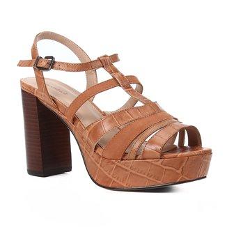 Sandália Couro Shoestock Meia Pata Tiras Mix Materiais Feminina
