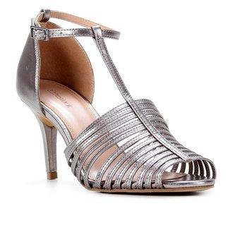 Sandália Couro Shoestock Metalizada Tiras Finas Feminina