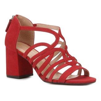 Sandália Couro Shoestock Nobuck Tiras Salto Médio Feminina