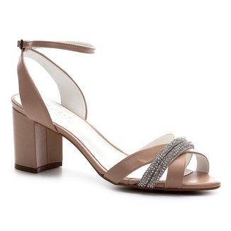 Sandália Couro Shoestock Noiva Strass Feminina