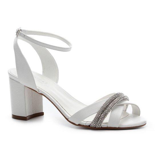 Sandália Couro Shoestock Noiva Strass Feminina - Branco